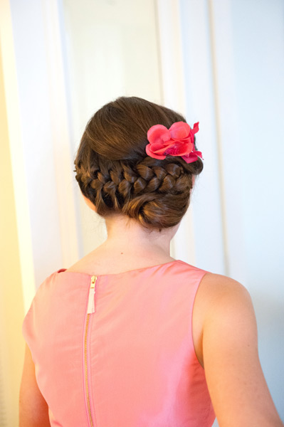 Grazyna Mercado Wedding Hair Bridesmaid Hairstyle Bun with Flowers