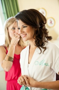 Grazyna Mercado Bride with Hairstylist Curly Bridal Hair