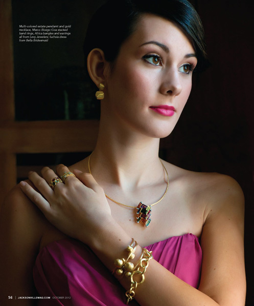 Grazyna Mercado Elegant Wedding Bridal Updo with Jewelry for Jacksonville Magazine